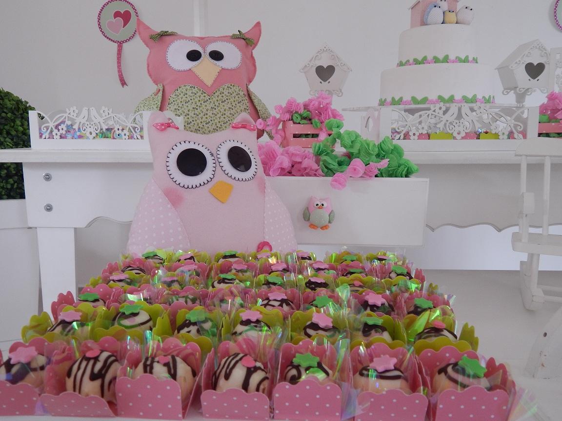 FESTA CLEAN Corujinhas rosa e verde  (124)