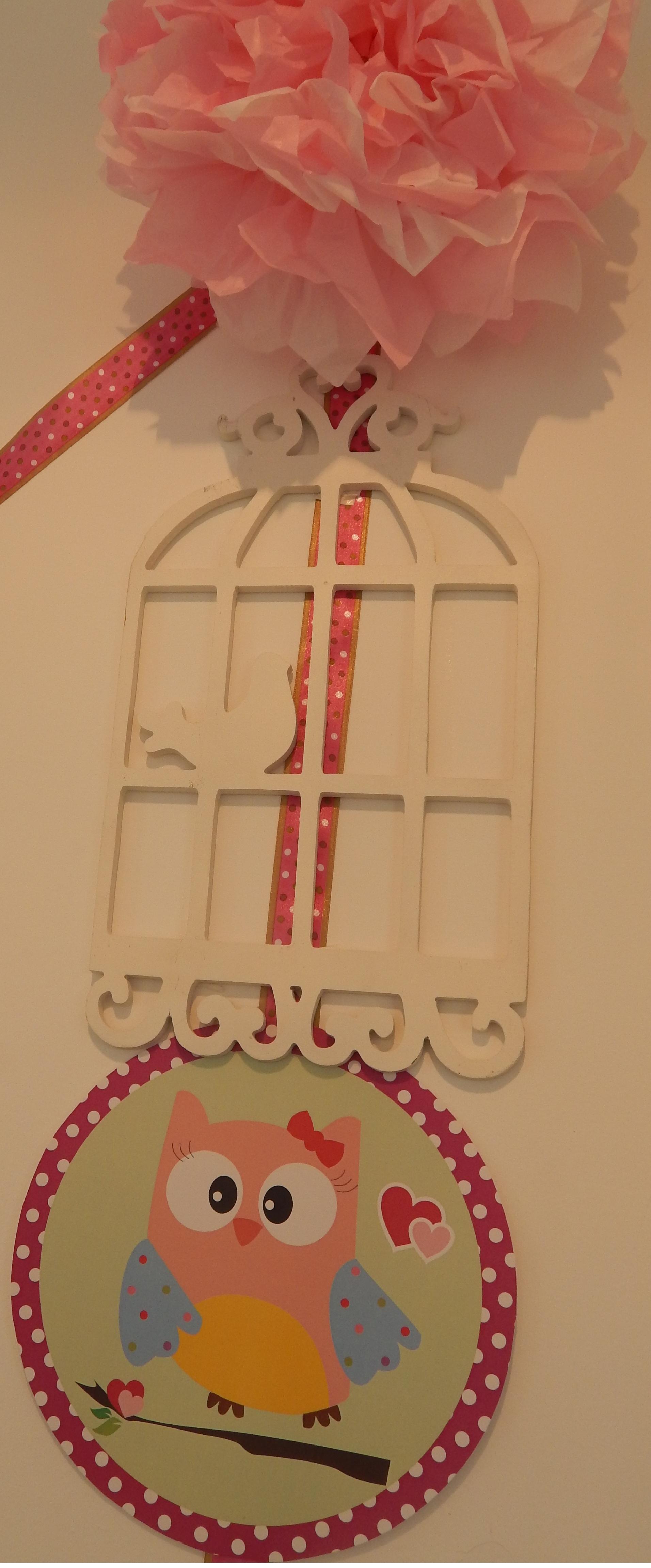 FESTA CLEAN Corujinhas rosa e verde  (136)