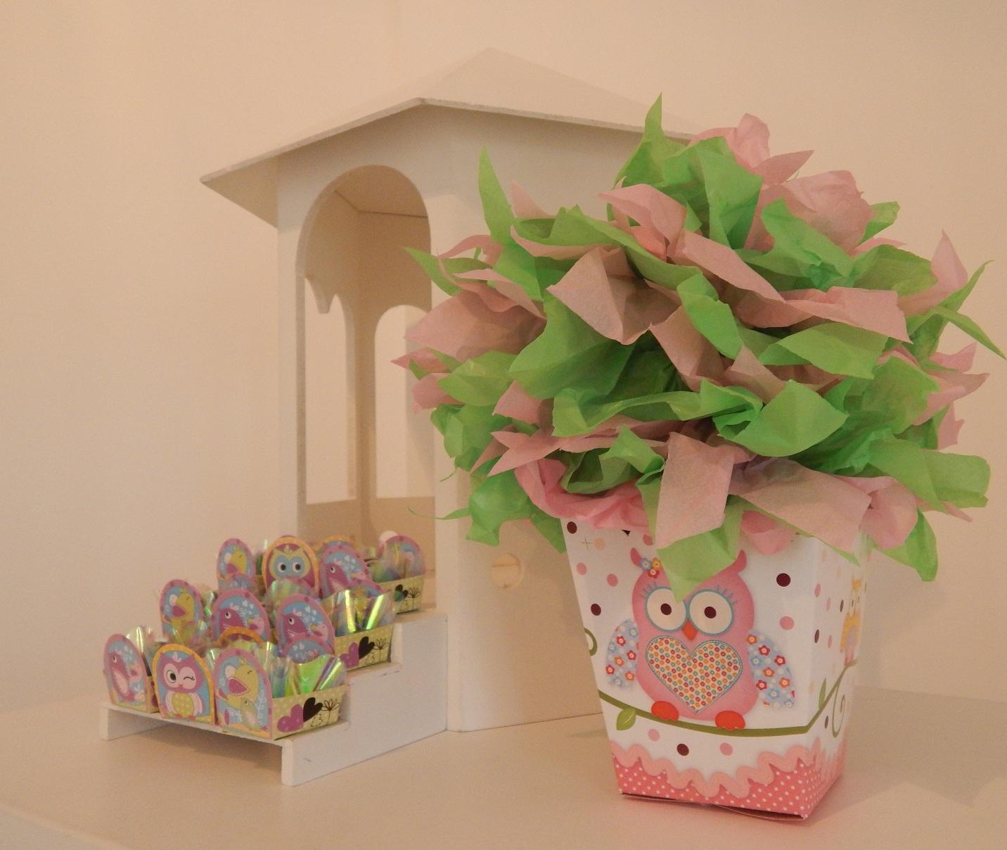 FESTA CLEAN Corujinhas rosa e verde  (145)